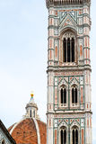 Bell tower of the Cathedral Basilica di Santa Maria del Fiore in Stock Photo