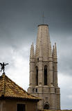 The bell tower of the Cathedral. Girona. Spain. Stock Photography