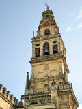 Bell tower of Cathedral (La Mezquita), Cordoba. Detail of the bell tower of Cathedral Mosque of Cordoba, Spain Royalty Free Stock Photos
