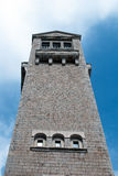 Bell tower cathedral Montevergine village Royalty Free Stock Images