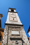 Bell tower of cathedral in Nice, bottom view Stock Photos