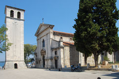 Bell tower and cathedral in pula. Bell tower church cathedral pula croatia Royalty Free Stock Images