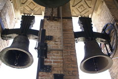 Bell tower of The Cathedral of Saint Mary of the See in Seville, Spain royalty free stock photo