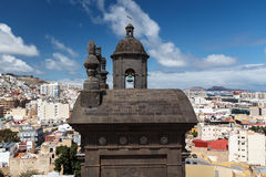 The bell tower of Cathedral of Santa Ana. Las Palmas de Gran Canaria. The Canary Islands. Spain royalty free stock photos