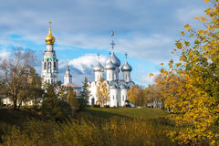Bell Tower and the Cathedral. Sophia Cathedral and bell tower in the city of Vologda. Russia Stock Images