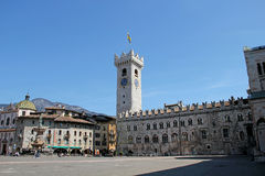 Bell Tower, Cathedral Square with Neptune Fountain, Trento, Italy Royalty Free Stock Images