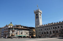 Bell Tower, Cathedral Square with Neptune Fountain, Trento, Italy Stock Image