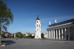 Bell Tower and the Cathedral of St. Stanislaus. Vilnius Stock Images
