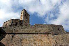 Cathedral and walls of the citadel of the city of Ibiza town, in Spain royalty free stock image