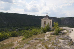 Bell tower of the cave monastery. Royalty Free Stock Photo