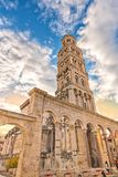 Bell tower of St Dujum at sunrise. Bell tower of chatedral ST. Dujum Duje  in Split at early moninig. One of the most popular turist spots in Split. Among the Stock Photos