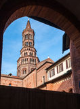 The bell tower of the Chiaravalle abbey, in Milan Stock Photo