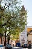 Bell tower of Chiesa di San Lorenzo in Verona city Royalty Free Stock Photo