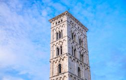 Bell tower of Chiesa di San Michele in Foro St Michael Roman Catholic church in historical centre of old medieval town Lucca royalty free stock image