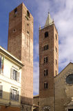 Bell tower and Church of Albenga, Liguria, Royalty Free Stock Images