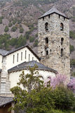 Bell tower of a church in the city of La Vella in Andorra. Royalty Free Stock Photos