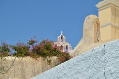Bell Tower Of A Church In Fira On The Island Of Santorini. Architecture, landscapes, travel, cruises. royalty free stock photography