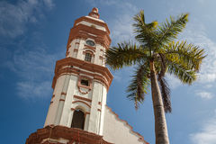 Bell-tower of the church in the historic centre of Veracruz city Royalty Free Stock Photography