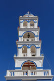 Bell tower of the church of Holy Cross in Perissa Stock Images