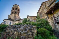 Lavaudieu church in french. The bell tower of the church in Lavaudieu, France Royalty Free Stock Photos
