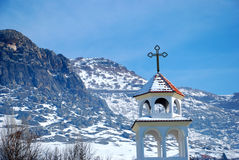 Bell tower of church in Macedonia. Bell in the winter  Landscape in Macedonia Royalty Free Stock Photos