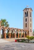 Bell tower of the church of Saint Nektarios. Faliraki . Royalty Free Stock Photography