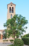 Bell tower of the church of Saint Nektarios. Faliraki Stock Photos