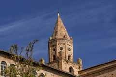 The bell tower of the church of Sant`Agostino in Penne, Pescara, Abruzzo, Italy. Europe Stock Photography