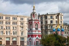 Bell tower of Church of St George in Moscow stock photos