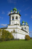 Bell Tower and the Church of St. John the Theologian in Vyazhishchsky Monastery September day. Novgorod region Stock Photos