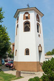 Bell tower of the church of St. Nicholas in the city of Leskovac, Serbia stock photography