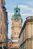 Bell tower of the church of St. Nicholas in Stockholm, Sweden Royalty Free Stock Images