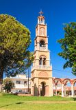 The bell tower of the church in the village of Pilon (Pylonas) Royalty Free Stock Image