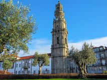 Bell tower of Clerigos church, Baroque church in the city of Porto, Portugal royalty free stock photos