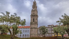 Bell tower of the Clerigos Church in cloudy blue stock video