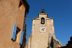 Bell tower and clock on the beffroi Royalty Free Stock Image