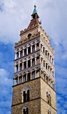 Bell tower clouds and blue sky in Pistoia italy Royalty Free Stock Image