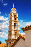 Bell tower detail of a church in Skopelos Town Royalty Free Stock Photography