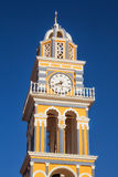 Bell tower details of The Catholic Cathedral in Fira, Santorini Royalty Free Stock Image