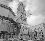 Bell tower at Diocletian Palace in Split Stock Images
