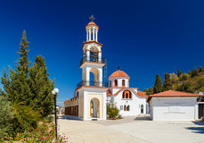 Bell tower and dome of the Orthodox Church on the island of Rhodes Royalty Free Stock Photo
