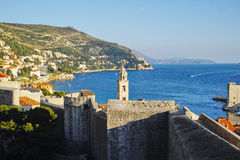 Bell tower of the Dominican Monastery in Dubrovnik. View from the city wall Stock Images