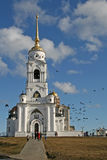 The bell tower of the Dormition Cathedral (Assumption Cathedral) in Vladimir, Russia Royalty Free Stock Images