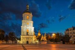 Bell tower dusk. Bell tower of Saint Sophia`s Cathedral shot at dusk Kiev, Ukraine stock photo