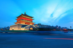 The bell tower at dusk in xian Royalty Free Stock Image