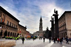 Pilar square in Zaragoza Royalty Free Stock Photos