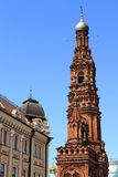 Bell tower. Of the Epiphany church in Kazan city royalty free stock photo