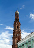 Bell tower. Of the Epiphany church in Kazan city royalty free stock photos