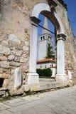 Bell Tower of Euphrasian Basilica in Porec, Croatia Stock Image