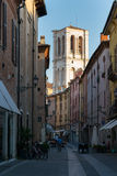 Bell tower of the Ferrara cathedral Royalty Free Stock Photo